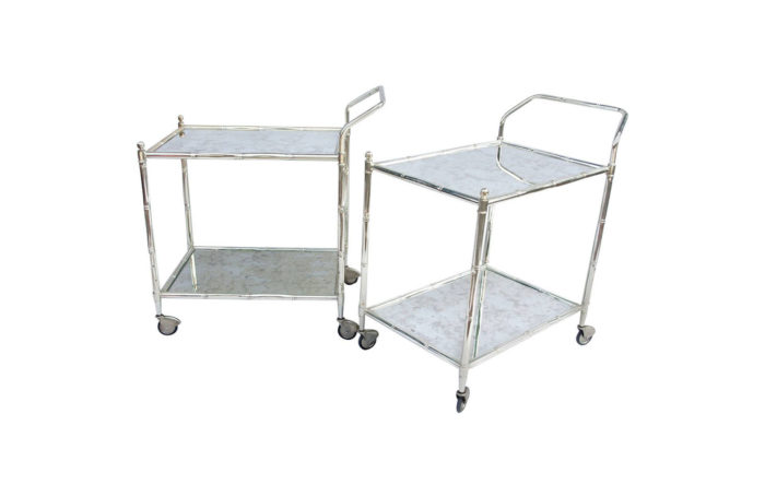 rolling trolley silvered bamboo