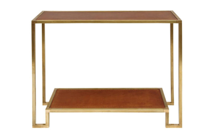 gilt brass leather console