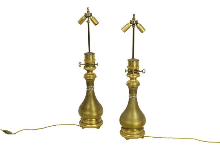 maison gagneau lamps guilloche gilt brass