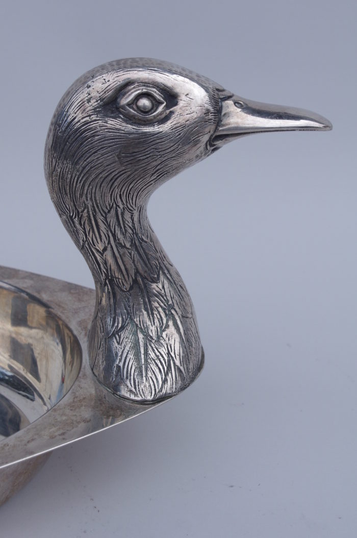 plat canard bronze argenté