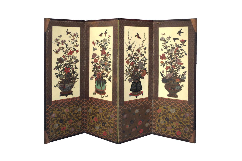 paravent art déco en papier peint japonisant, circa 1920