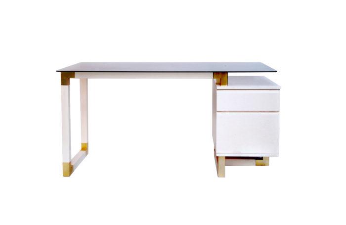 lacquered white desk pierre cardin