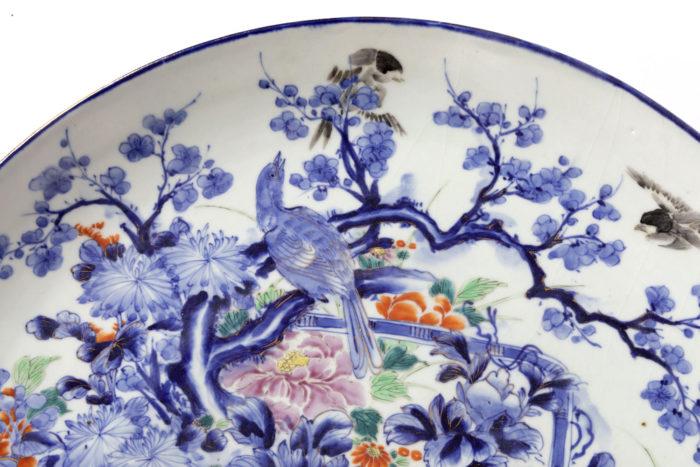 plat porcelaine blanc bleu oiseau prunus
