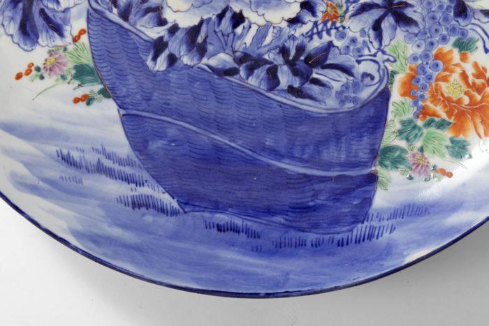 plat porcelaine blanc bleu panier