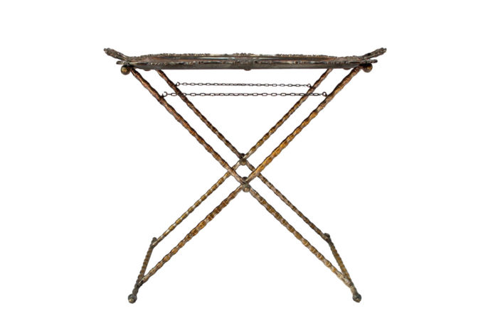 silvered bronze bamboo style tray