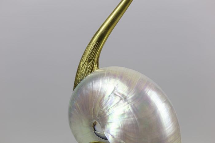 sculpture oiseau coquillage
