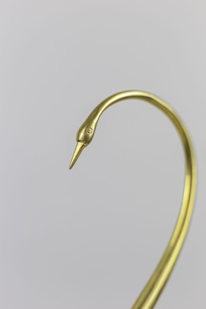 sculpture oiseau laiton doré