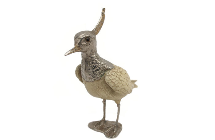 crested bird metal resin