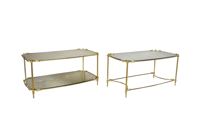 Deux Tables Basses En Laiton Doré Et Miroir Oxydé Circa 1960