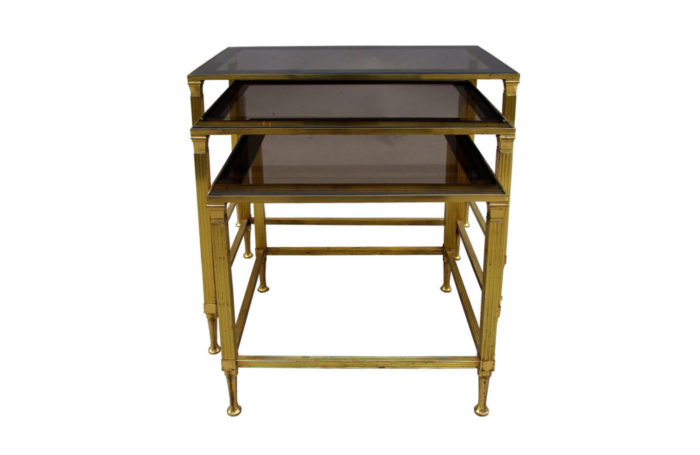 gilt metal nesting tables front