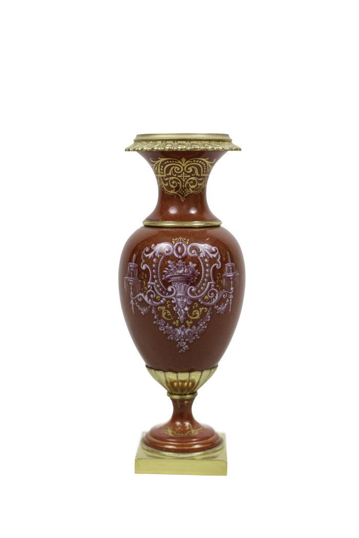 vases porcelaine rouge bonze doré 2
