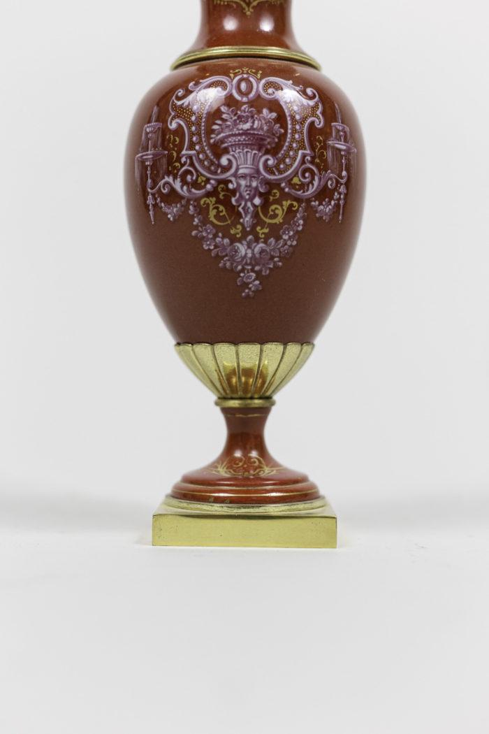 vases porcelaine rouge bonze doré base carrée