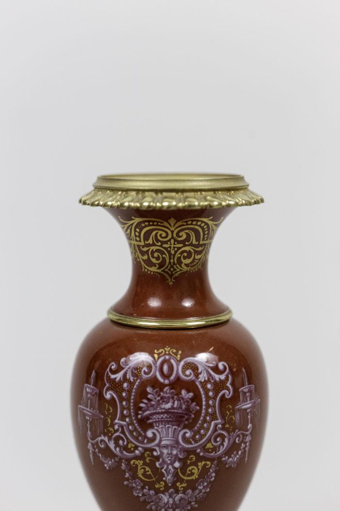 vases porcelaine rouge bonze doré monture