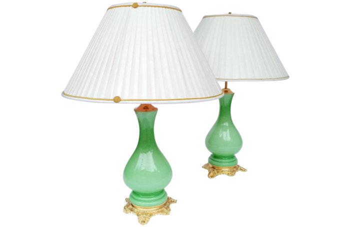 lampe opaline verte bronze doré