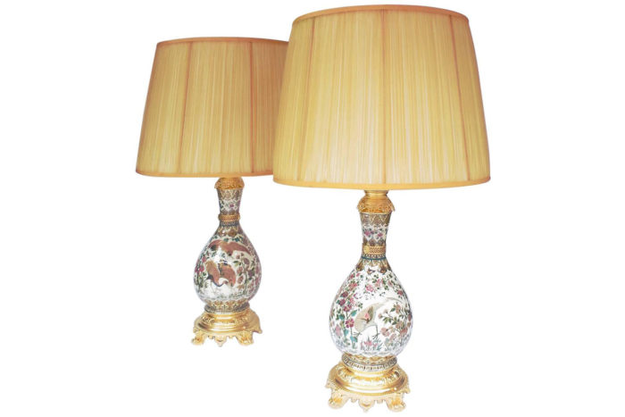 Paire lampes Zsolnay oiseaux