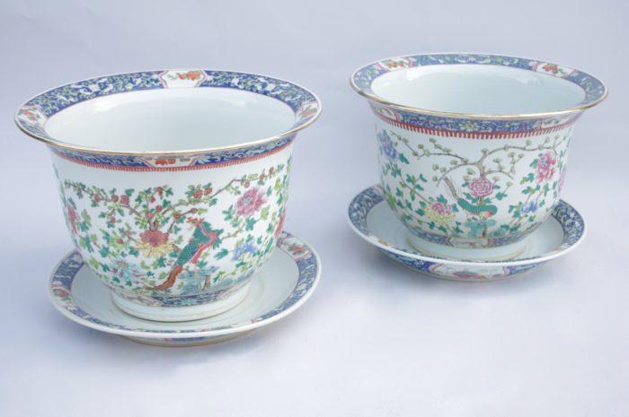 cache pot porcelaine famille verte