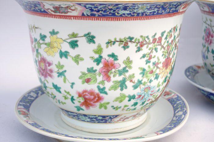 cache pot porcelaine famille verte fleurs