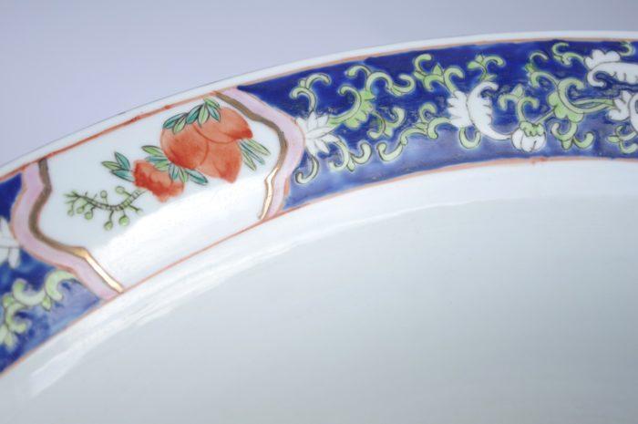 cache pot porcelaine famille verte frise bleue