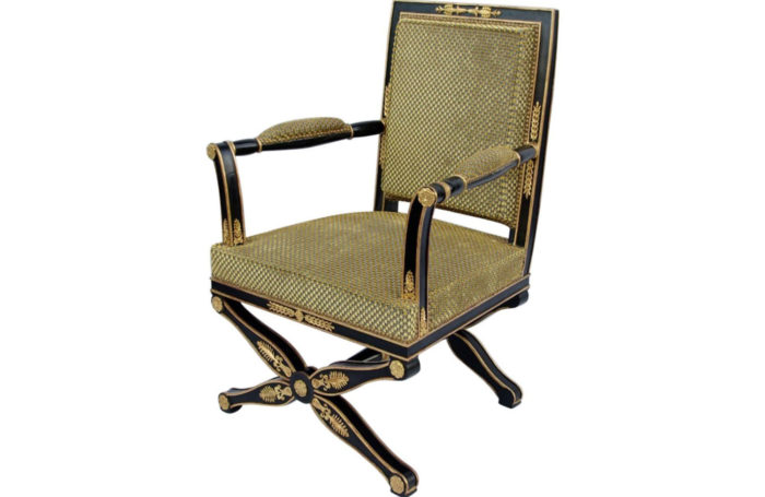 empire style fauteuil x stand black lacquer gold