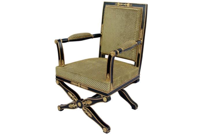 fauteuil empire pietement x laque noir or