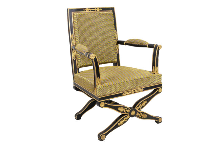 empire style armchair black and gilt lacquered