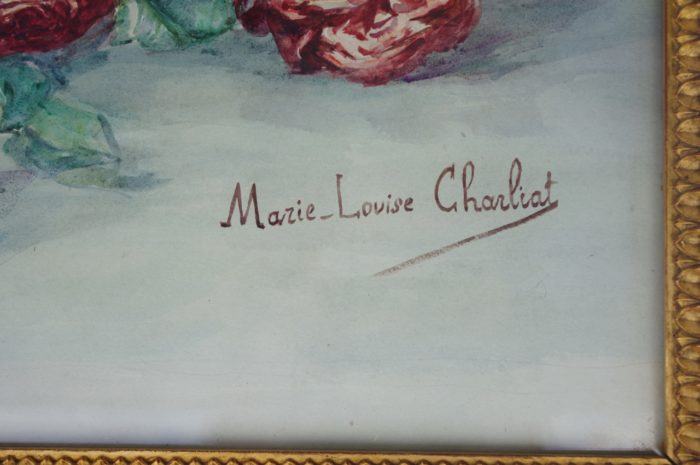 aquarelle bouquets roses charliat signature