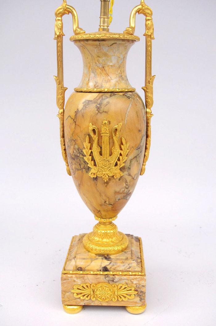 lampe marbre jaune sienne empire
