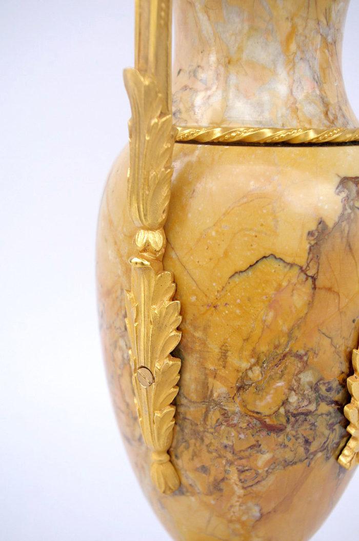 lampe marbre jaune sienne empire anse