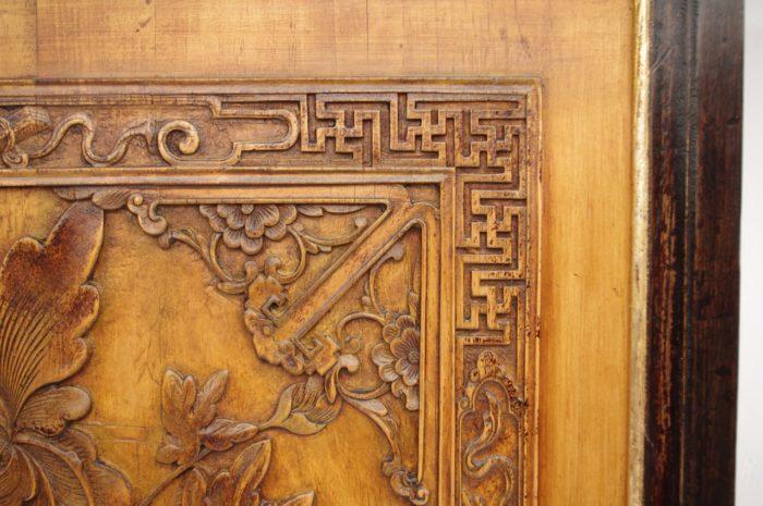 paire bas relief asiatiques bois detail 2