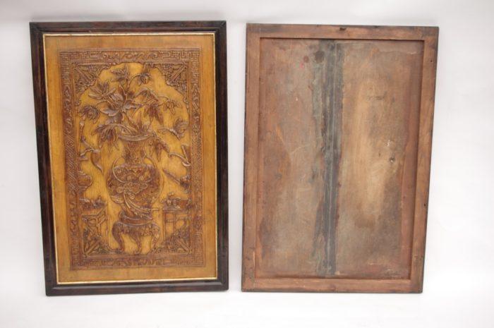 paire bas relief asiatiques bois dos