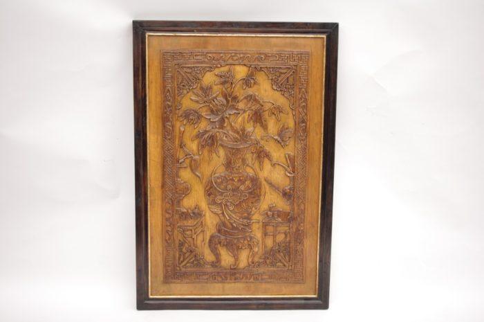 paire bas relief asiatiques bois solo