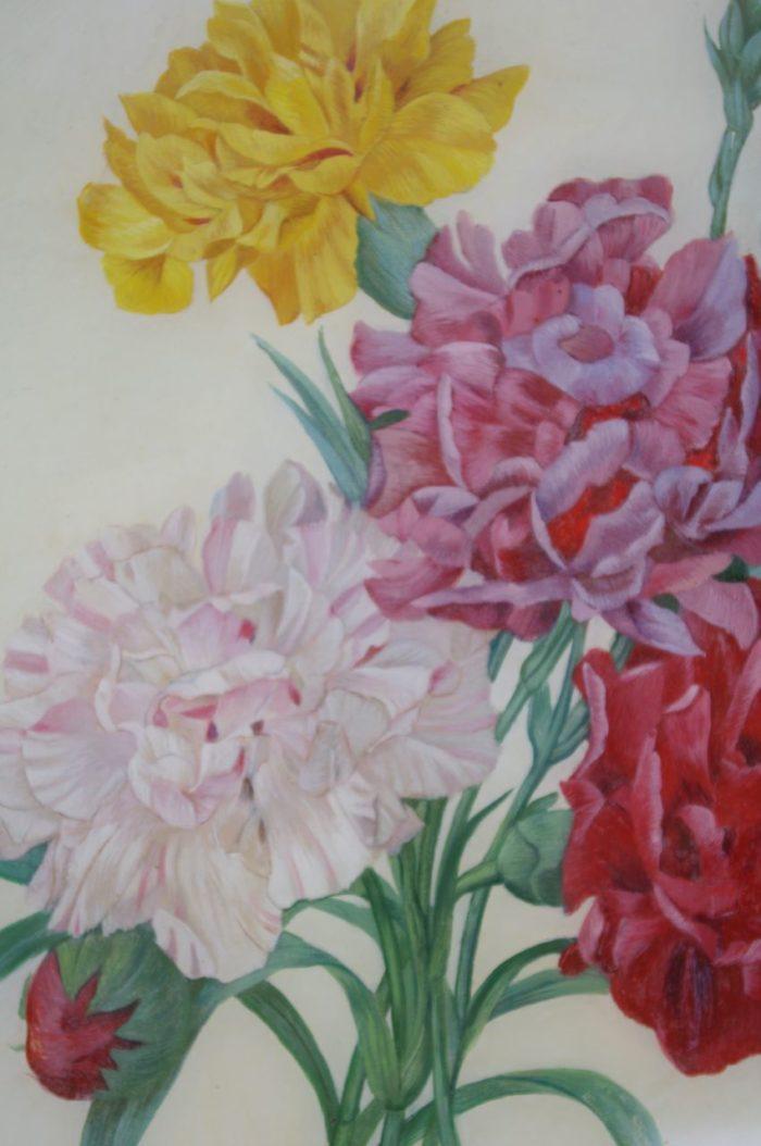 paire fixe sous verre fleurs pivoines