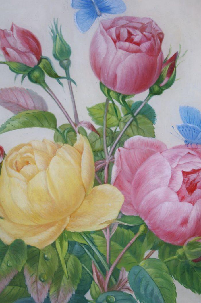 paire fixe sous verre fleurs detail