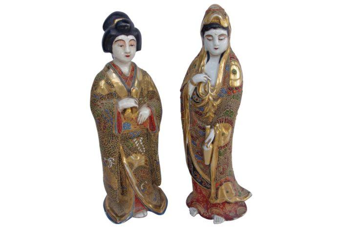 paire geisha satsuma faience