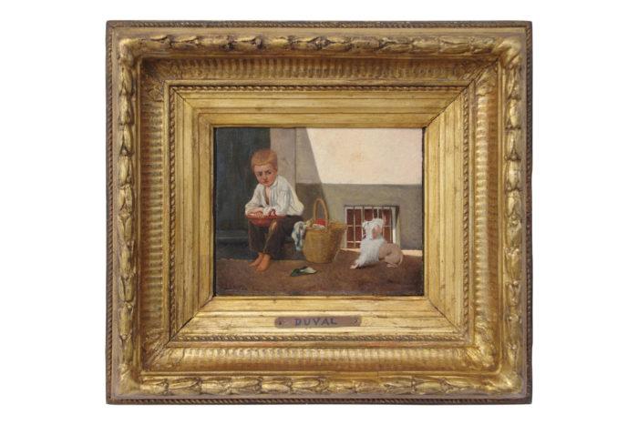 peinture huile duval enfant chien