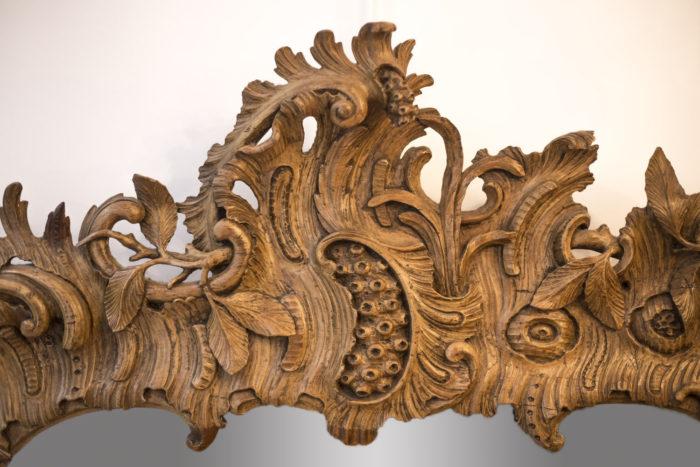 Miroir bois sculpté rococo cartouche coquille
