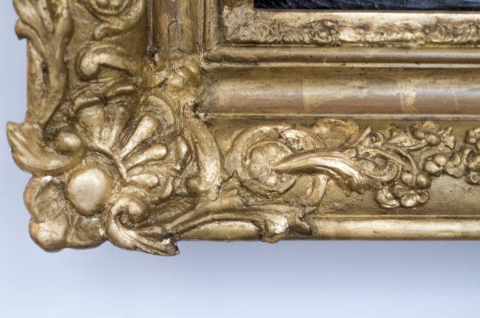 huile sur toile portrait cadre bois doré coquille