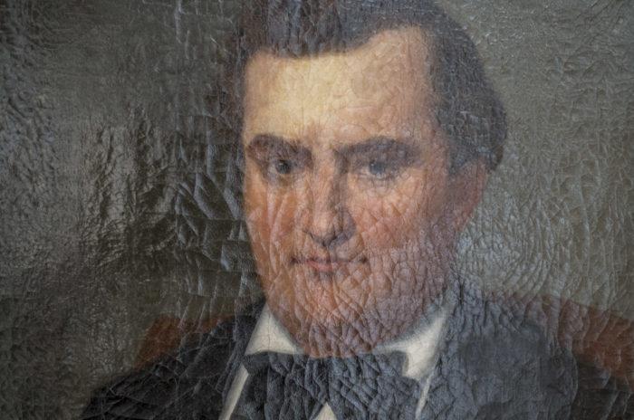 huile sur toile portrait homme assis détail visage