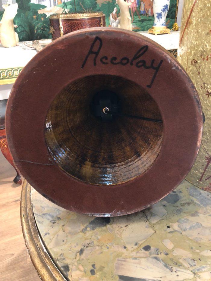 lampe accolay ceramique signature socle