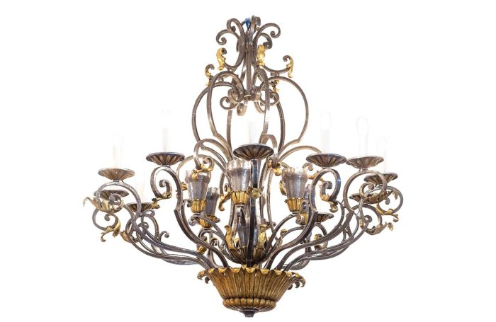 wrought iron poillerat chandelier gold