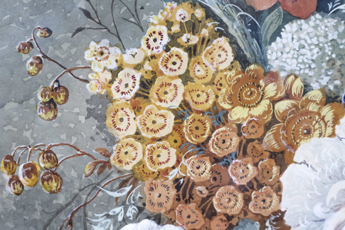 paire gouaches fleurs detail