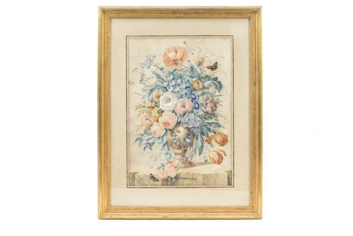paire gouaches fleurs hollandais bouquet