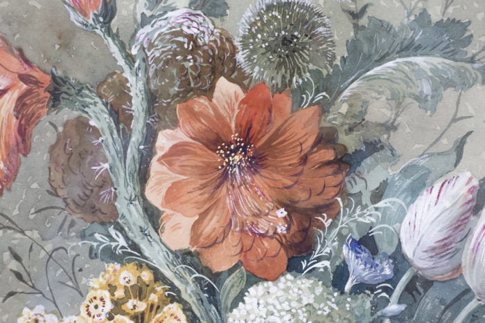 paire gouaches fleurs hollandais dahlia