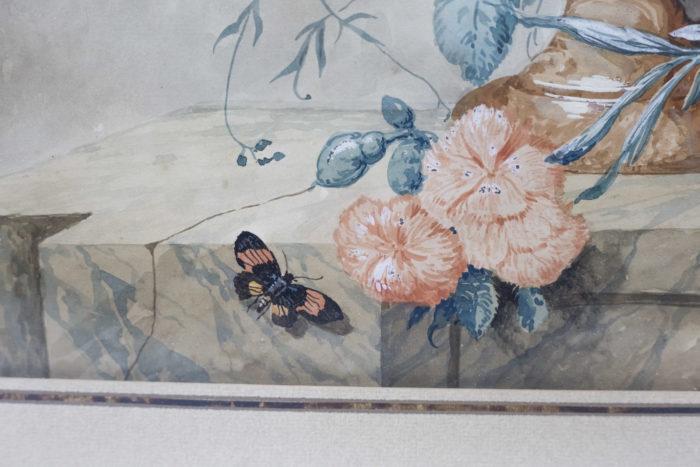 paire gouaches fleurs oeillets papillon