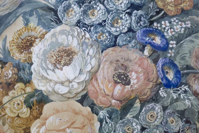 paire gouaches fleurs pivoines