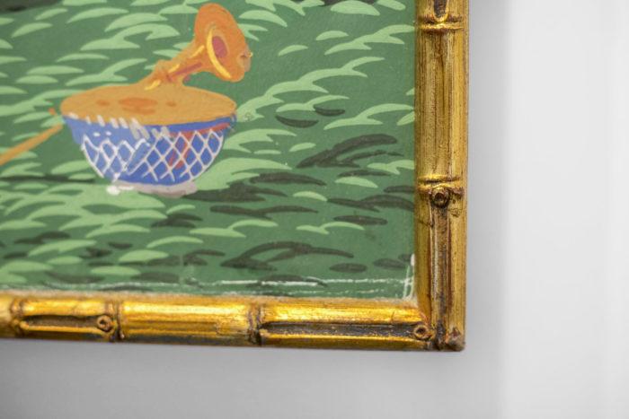 papier peint zuber hindoustan cadre bambou doré