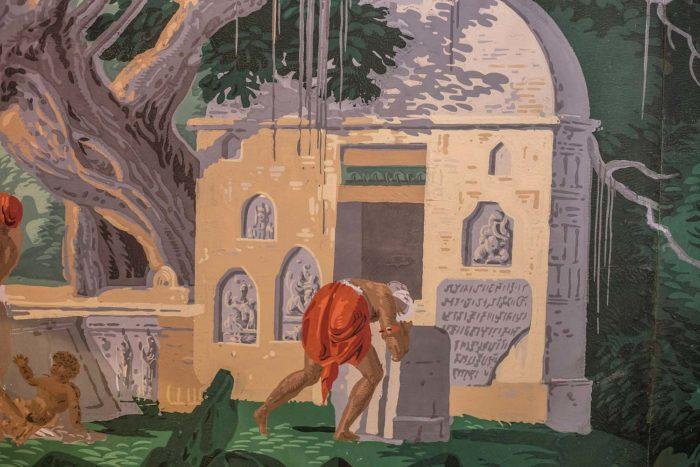 papier peint zuber hindoustan détail priere