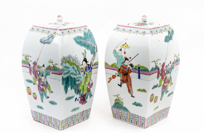 famille rose china porcelain covered pots