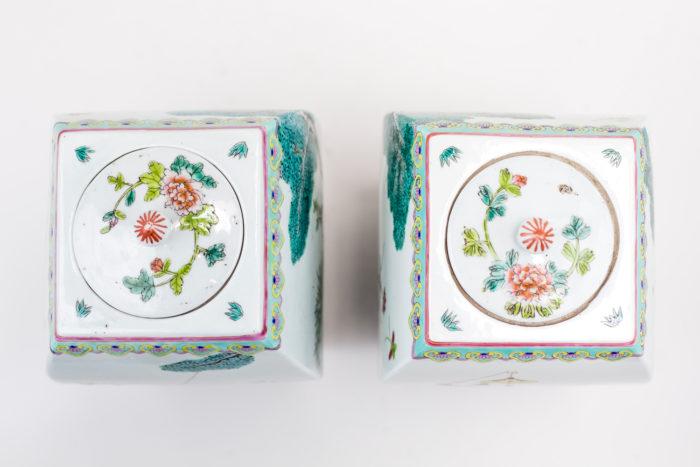 pots porcelaine famille rose couvercle pivoine