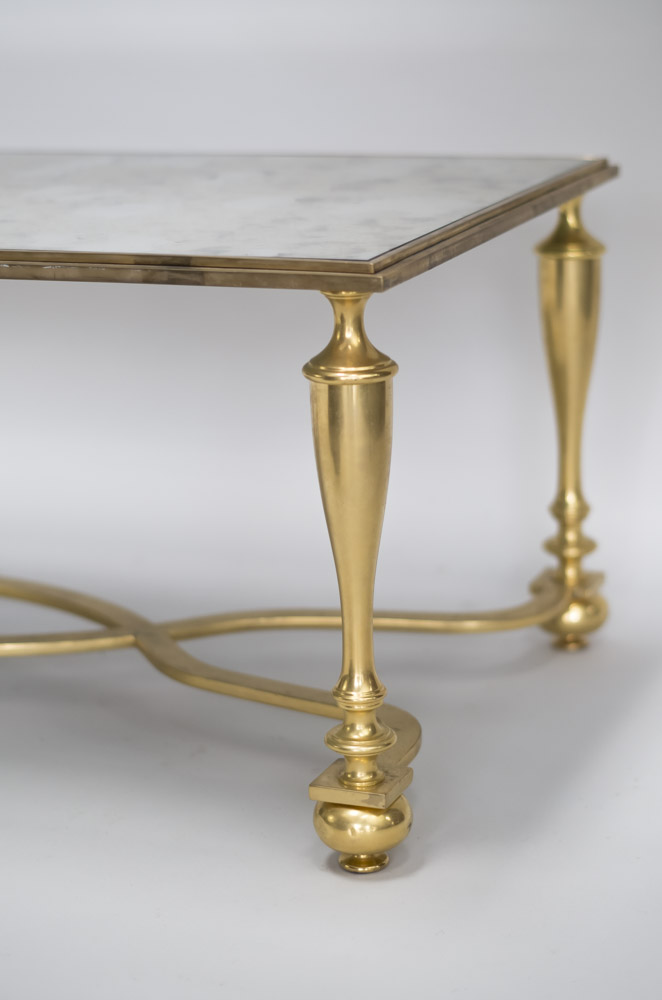 table basse bronze doré entretoise x